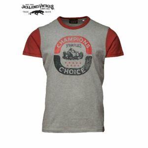 Grand Rally Jack & Jones Mens Large Vintage T-shirt - Light Grey Melange