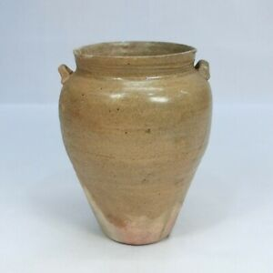 A754: Japanese old SETO pottery vase with appropriate good glaze and two ears.