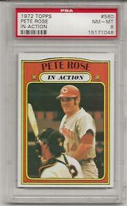 1972 TOPPS #560 PETE ROSE, PSA 8 NM-MT, IN ACTION,  CINCINNATI REDS, L@@K !