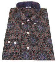 Mens Black 60s Retro Print Pattern 100% Cotton Shirts …