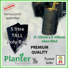 5 litre tall Premium Planter Bags - varying quantities. Poly Plant bag, Grow bag
