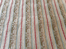 Antique French Floral Jacquard Cotton Ticking Stripe Fabric ~Brown Red Gray Blue