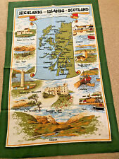 NEW VINTAGE TEA TOWEL HIGHLANDS & ISLANDS SCOTLAND  ALL PROCEEDS TO CHARITY