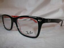 RAY BAN EYE GLASSES FRAME RX5228 2479 BLACK TEXTURE RED 53-17-140 NEW AUTHENTIC