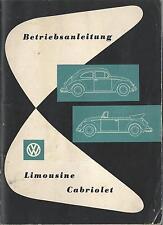VW KÄFER Betriebsanleitung 1960 Bedienungsanleitung CABRIOLET LIMOUSINE  BA