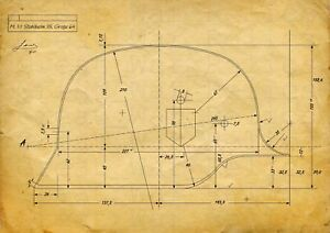 WW2 German Helmet Blueprint Drawing M35 Model - WWII Era Wehrmacht Reproduction