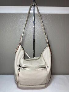 The Sak Stone Beige Pebbled Leather Shoulder Handbag Purse Hobo Slouch