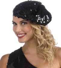 Forum Novelties Roaring 20s Sequin Flapper Beret Black One Size b4f697e6b8bd