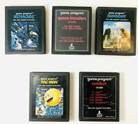 Vtg Lot of 5 Atari 2600 Games Combat Space Invaders Defender Pac Man Asteroids