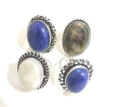 Designer Lot 4 PCs. LABRADORITE & LAPIS 925 Sterling Silver Plated Ring Jewelry