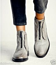 NIB Free People AS98 gray distressed leather zipper Booties Boots 37 /6-6.5