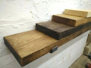 Solid Pine Chunky Rustic Scaffold style Shelf  - Industrial - Hairpin - Floating