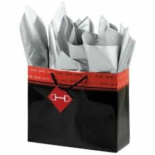 Silver Horseshoe Gift Packaging Black Bag with Silver Horse Bits - Medium