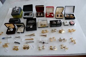 JOB LOT 37 ITEMS OF VINTAGE MEN'S CUFFLINKS, STUDS, TIE PINS SOME SILVER & BOXED