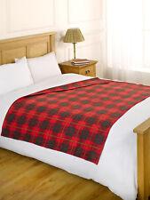Check Polar Fleece Throw Travel Warm Sofa Bed Blanket 120 x 150cm - Tartan Red
