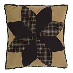 """DAKOTA STAR 16x16"""" QUILTED ACCENT PILLOW COVER EIGHT POINT STAR BLACK KHAKI"""