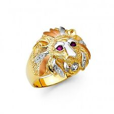 14K Tricolor Gold Lion Ring EJMR34316