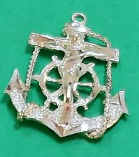 STERLING SILVER VINTAGE BRACELET CHARM    C67  ANCHOR WITH CROSS