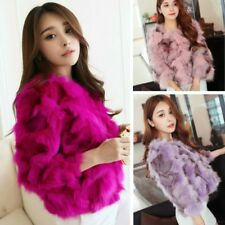 Lady Faux Fur Short Coat Jacket Outwear Mixed Color Fluffy Furry Winter Warm Top