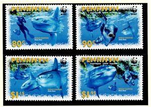 "PENRHYN ISLAND - 2003 MNH ""WWF Ocean SUNFISH"" SET OF 4 MNH"
