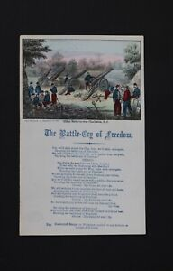 Charles Magnus Lithograph 1860s Civil War Song The Battle Cry of Freedom