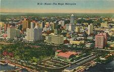 Miami aerial view linen Postcard