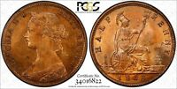 Great Britain Victoria 1863 1/2 Penny PCGS MS63 RB NICE RED TONED KM# 748.2