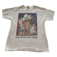 VTG 90s One With Earth Native American Indian White Single Stitch T Shirt Large