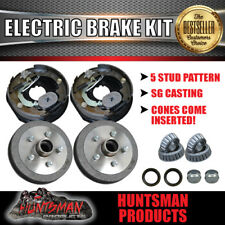 "10"" 5 Stud Trailer Electric Drum Brake Kit & Handbrake Levers. S.G Cast Drums"