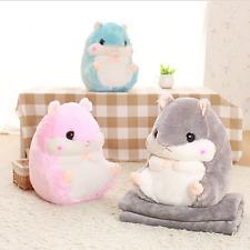 Hamster Pillow Blanket Plush Soft Toys Pillow Bolster Portable Comfortable Gift