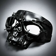 Black Skull Halloween Mask Steampunk Evil Skeleton Face Masquerade Party Cosplay
