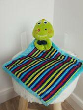 George Asda Blue Green Dinosaur Striped Baby Comforter Soft Toy Comforter