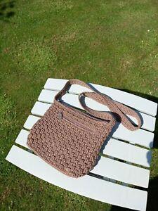 The Sak Brown Woven Macrame Handbag Shoulder Bag