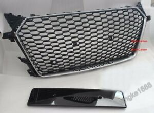 For 2015-2016 AUDI TT Fit For  TTRS Style Front Honeycomb Grill Silver Frame G