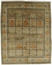 Vintage Pictorial Design Handmade 9X12 Tabatabaei Area Wool Rug Oriental Carpet