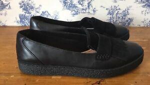Clarks Black Leather / Suede Lillia Lottie Fringe Loafers Size UK 7 D