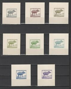 ++ 1961 Fauna 18,15 Nominal in Different Colour Thick Paper