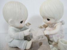 Precious Moments Figurine God Bless Our Home Vtg 1984 Boy Girl Enesco 12319