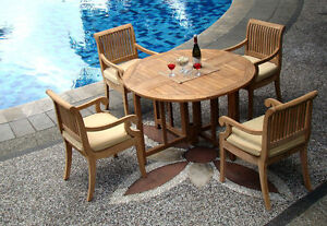 """Giva A-Grade Teak 5 pc Dining 48"""" Round Table 4 Arm Chair Set Outdoor New"""