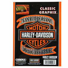 Motard Harley Davidson HD live to ride Logo Emblème Autocollant Décalque sticker Chrome