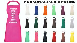 PERSONALISED APRONS - Any Logo/Text - Bistro, Cafe, Restaurant - (No Pocket)