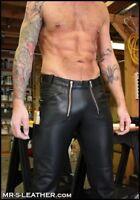 New Genuine Leather German Carpenter Pants Trouser Lederhosen Front zip Gay kink