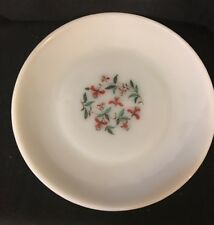 "Vintage Fire King Oven Ware plate 9 1/4"" red Flower Milk Glass"