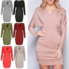 Womens Bodycon Ladies Wrap Over V Neck Long Batwing Sleeves Ruched Mini Dresses