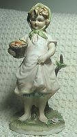 Vintage Lefton China Figurine, Girl w/ Basket of Apples KW6714 Made in Japan
