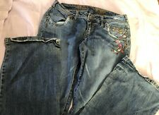 Womens Squeeze Low Rise Boot Cut Blue Denim Jeans Womens 7/8 Stretch Embroidered
