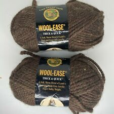Lion Brand Yarn Wool Ease Thick Quick Super Bulky 404 Wood 6 Ounces Lot of 2