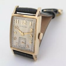 Vintage Hamilton Mens 10K Solid Gold 22J 770 Manual Wind Wrist Watch $1 NO RES