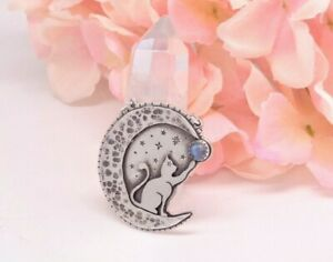 MOON STAR - Sterling Silver Moonstone Cat Necklace by Nightgypsy83