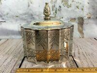 "Godinger Silver Plate Jewelry Casket Trinket Box Red Velvet Lining Large 5"" x 4"""